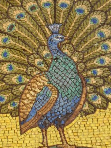 Detail of Peacock mosaic, St George's Garrison Church Woolwich
