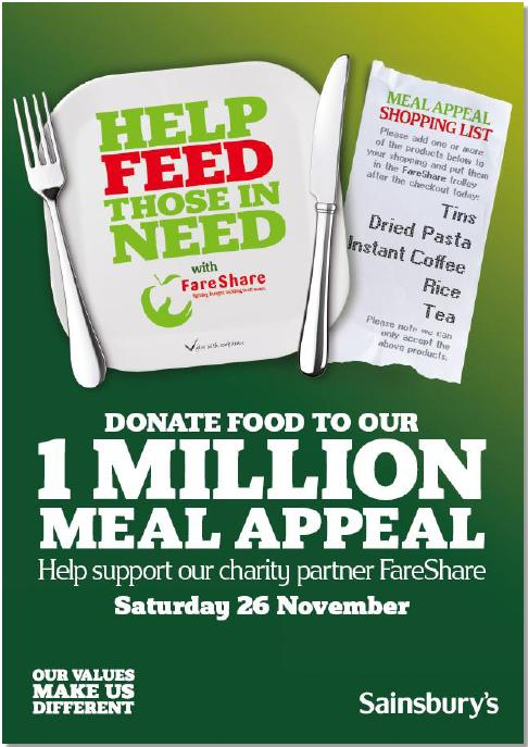 The FareShare Million Meal Appeal leaflet which was handed out to Sainsburys' shoppers on 26th November