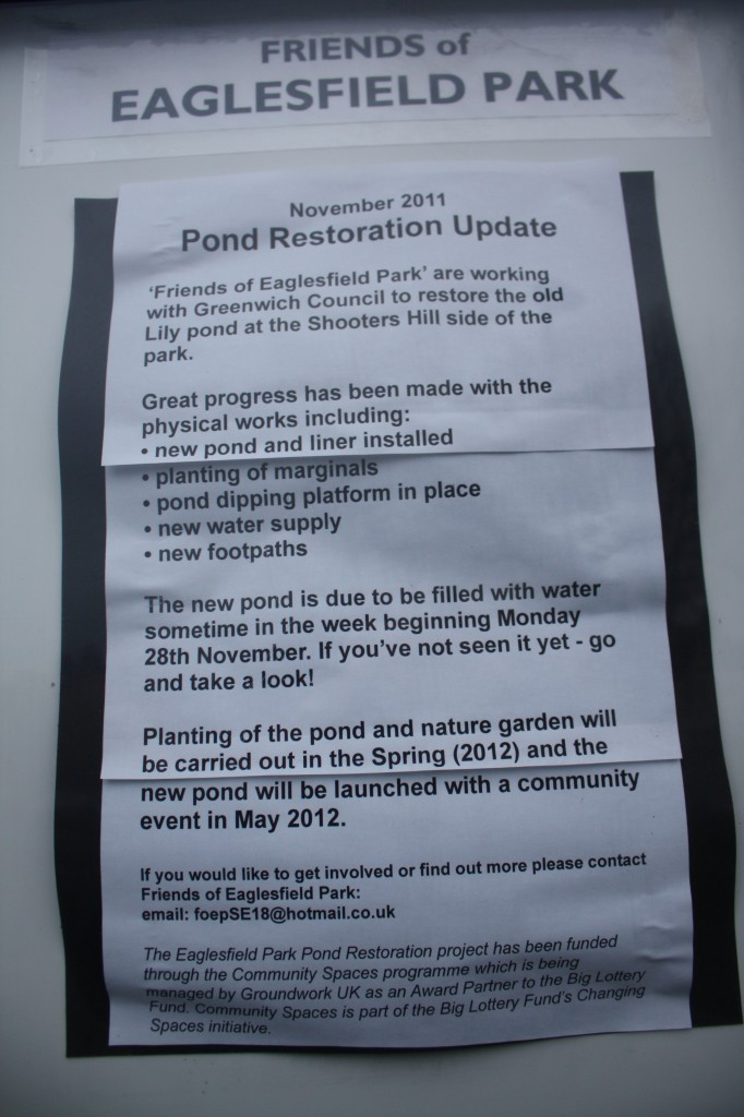 Friends of Eaglesfield Park Poster announcing Pond Launch in May 2012