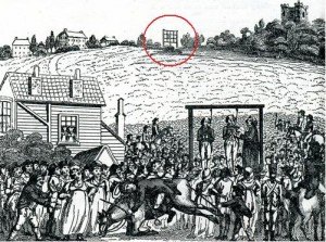 R Pocock of Gravesend's woodcut of the Shooters Hill Gibbet  showing the Admiralty telegraph in the background (circled)