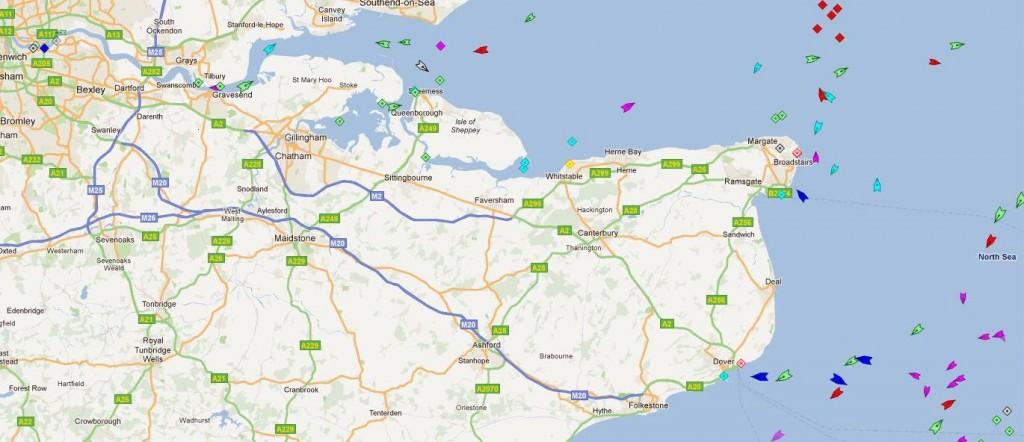 Marine Traffic map of waters around South-east UK showing ship locations