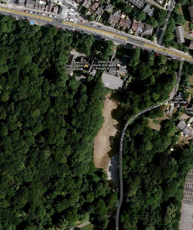 Google Maps' view of Christ Church School and the common land meadow behind it