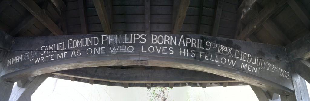 Samuel Edmund Phillips memorial in Shooters Hill shelter
