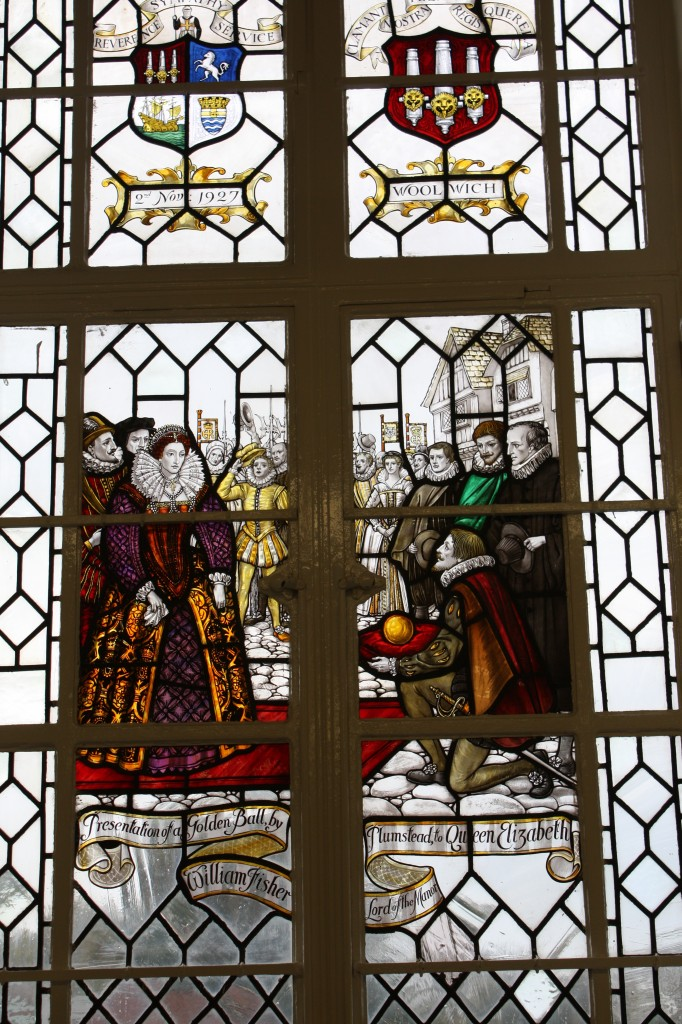 Stained glass window in Memorial Hospital Presentation of a golden ball by William Fisher Lord of the Manor Plumstead to Queen Elizabeth