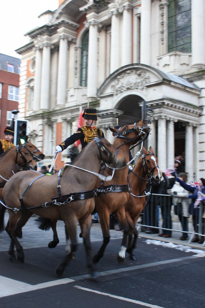 King's Troop Gun team outside Woolwich Town Hall