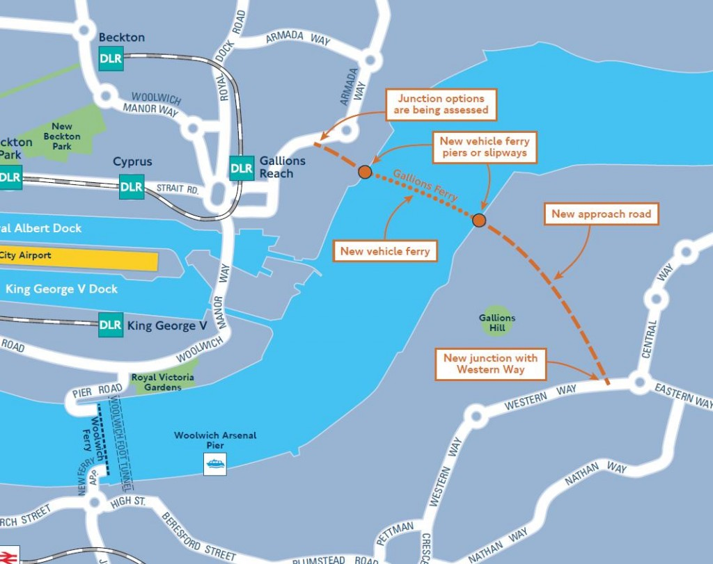 TfL map extract showing route to new Gallions Reach ferry