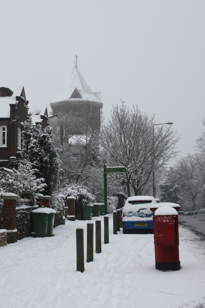 Shooters Hill water tower in the snow