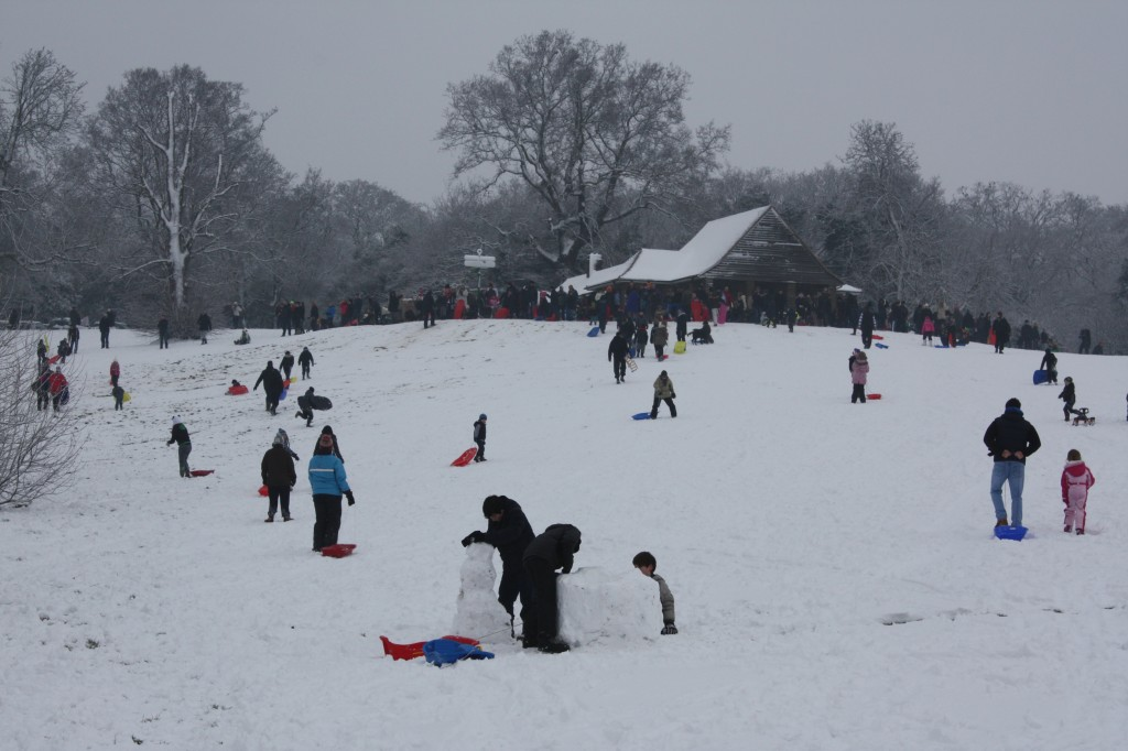 Oxleas meadow and cafe in the snow