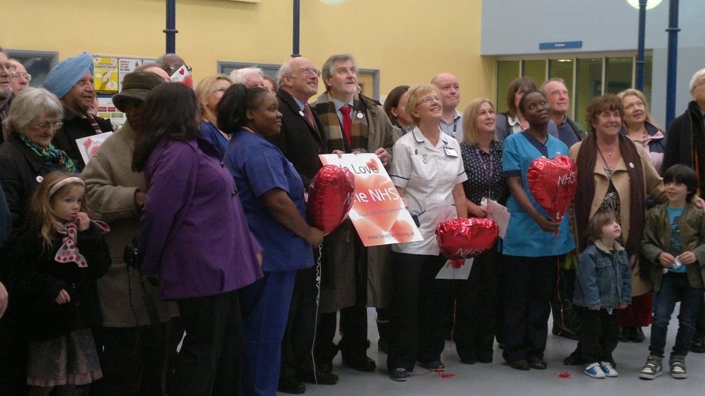 Clive Efford (centre) and friends giving a Valentines Day card to the Queen Elizabeth Hospital