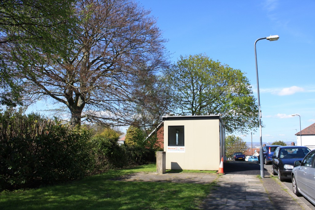 Portacabin Polling Station on Donaldson Road