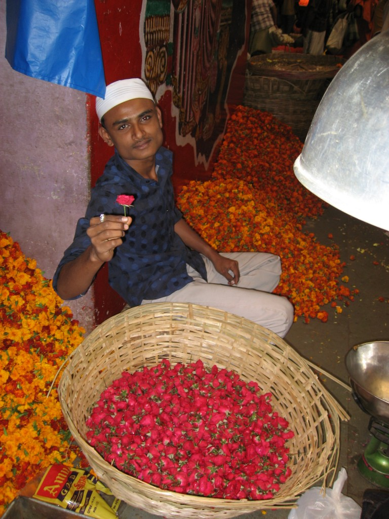 Flower seller in the market in Bangalore