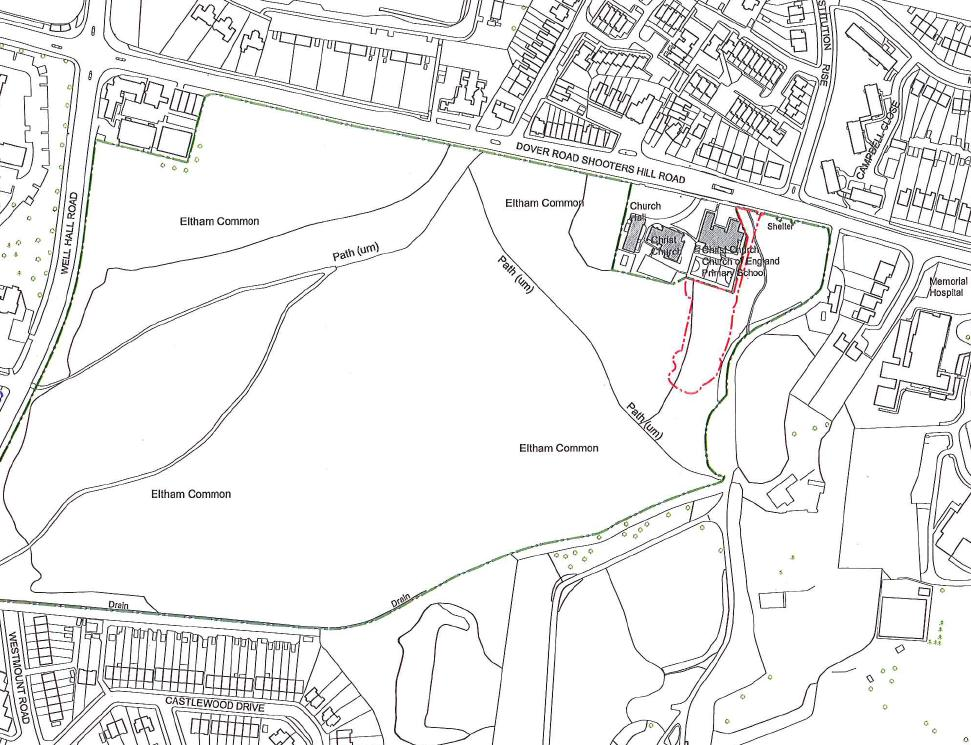 Map showing the area of Eltham Common considered by the enquiry
