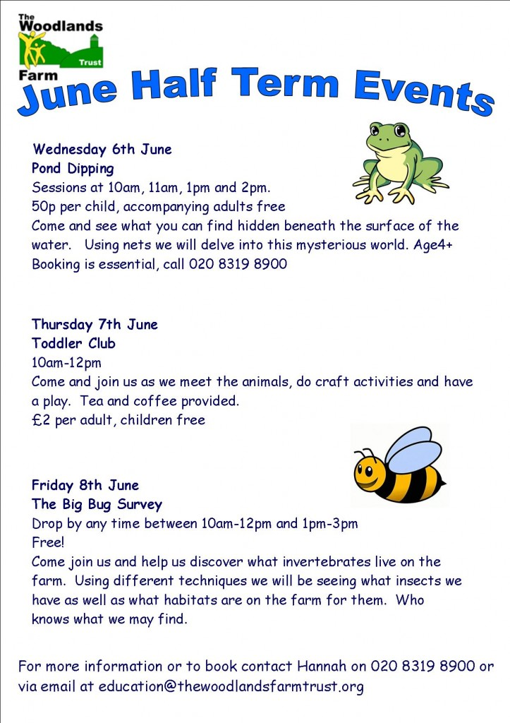 June Half Term Events at Woodlands Farm Poster