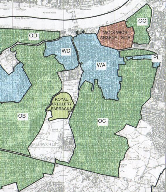 Map extract showing Shooters Hill EDZ