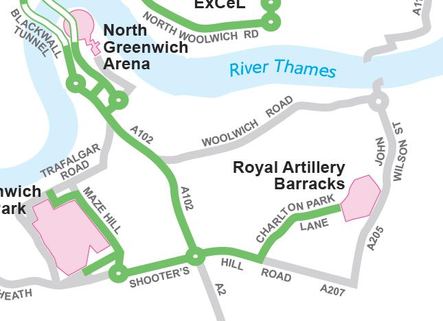 Local snippet from TfL Olympic Route Network map