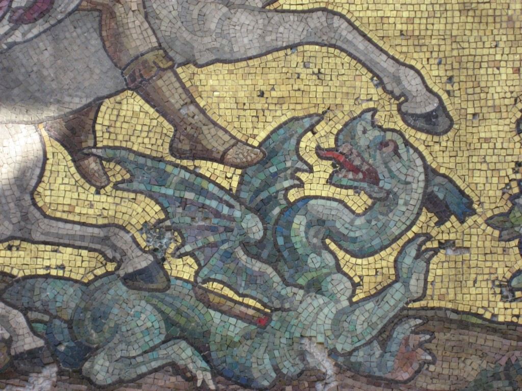 The dragon shown in the Victoria Cross Memorial mosaic in St George's Garrison Church