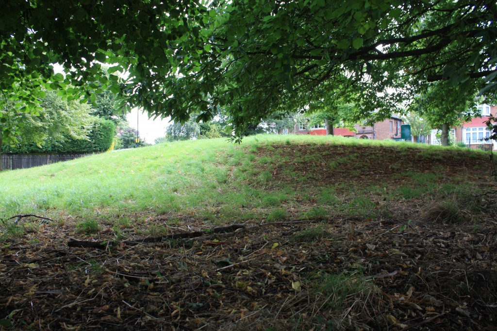 Shrewsbury Tumulus at junction of Mayplace Lane, Plum Lane and Brinklow Crescent