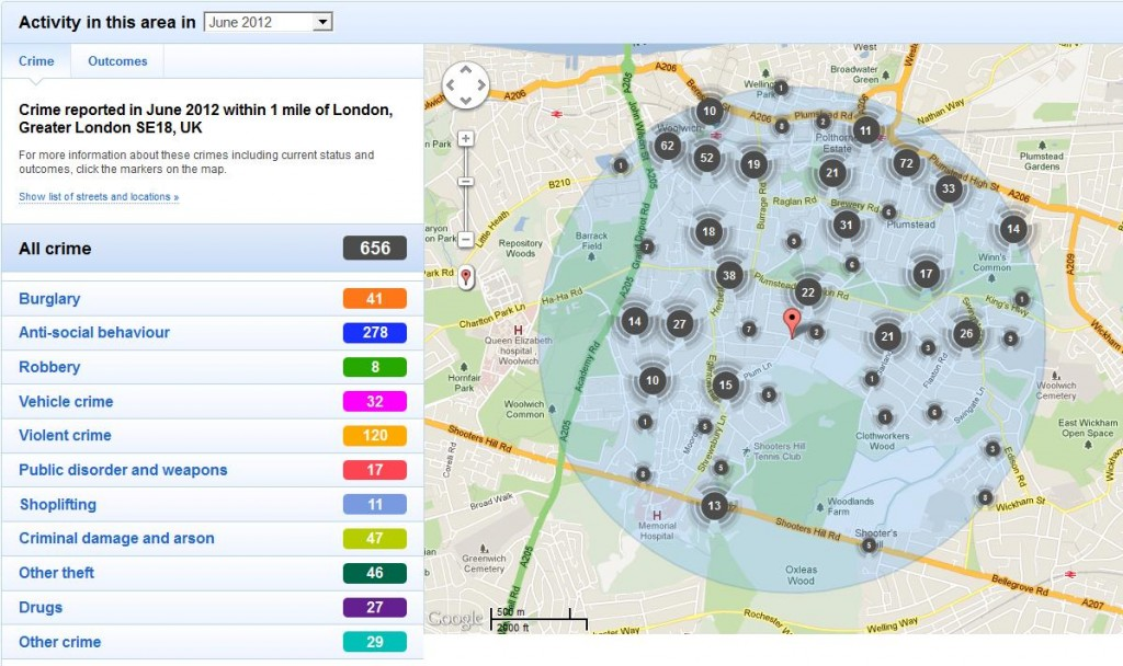 Snippet of police.uk website showing reported crime around Shooters Hill