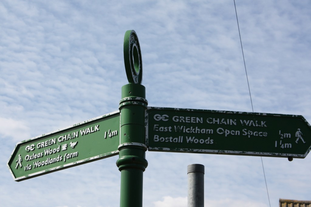 Green Chain Walk signpost at corner of Keats Road and Dryden Road