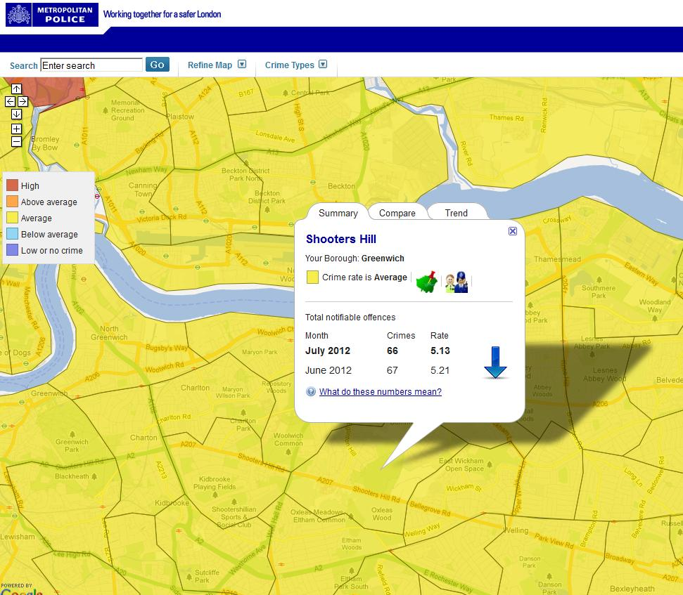 Snippet from Metropolitan Police Crime Mapping showing Shooters Hill