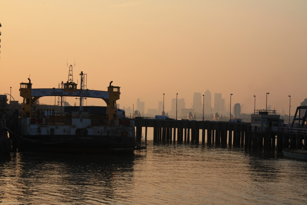 Docked Woolwich Free Ferry at Sunset