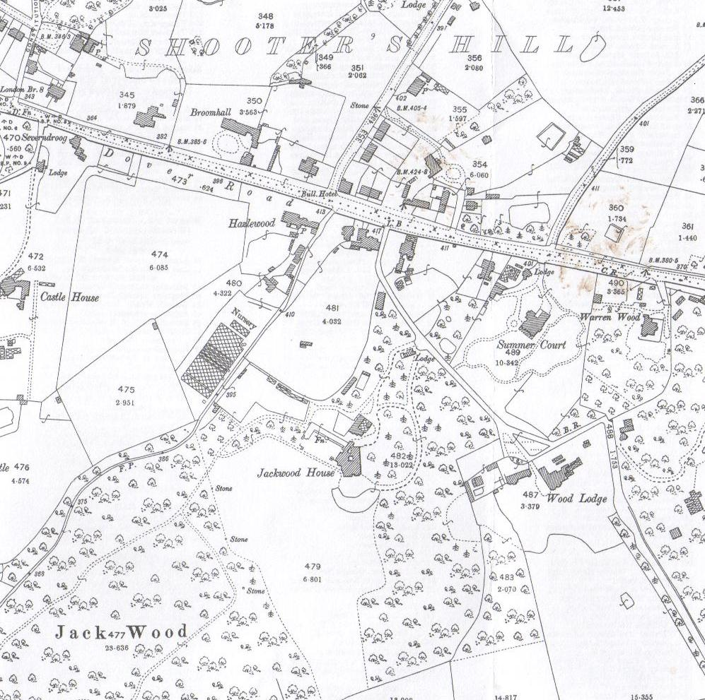 1894 OS Map showing Jackwood House