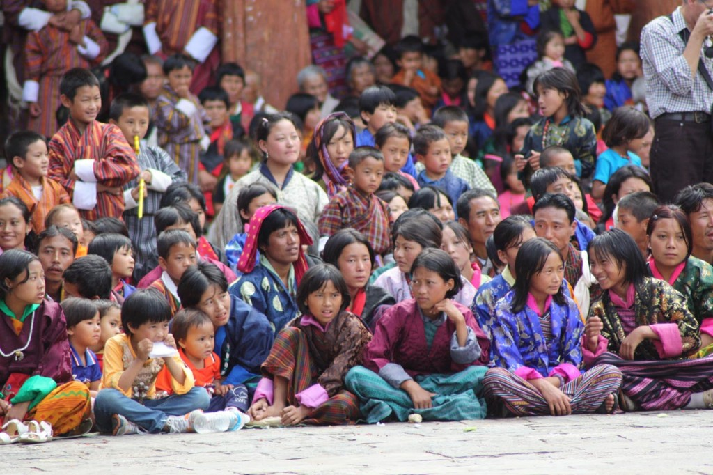 Audience for the Pholay Molay dance at Wangdue Phodrang Dzong in Bhutan