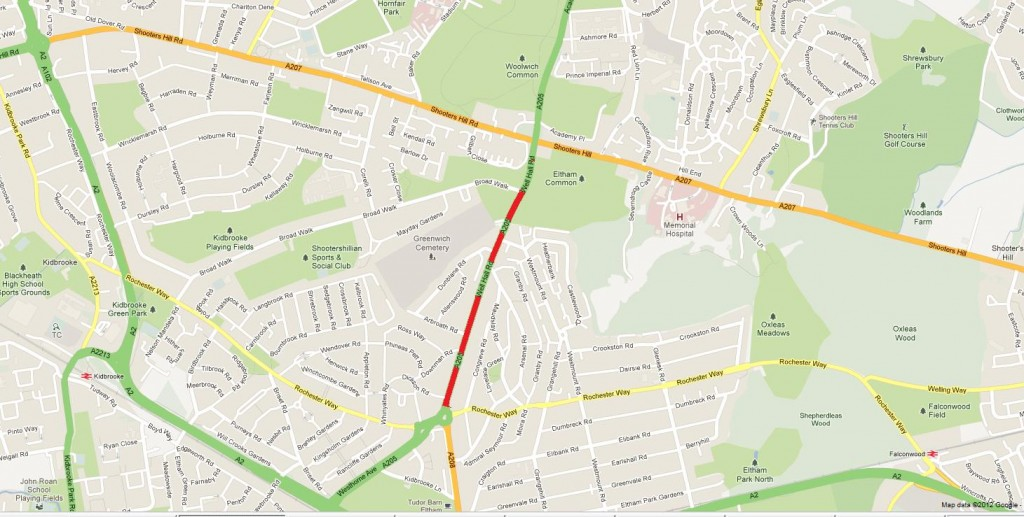 Google Maps snippet showing the blocked section of Well Hall Road
