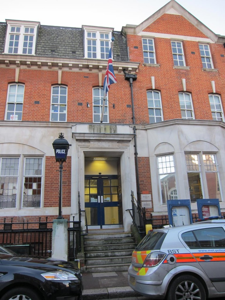 The entrance to Woolwich Police Station