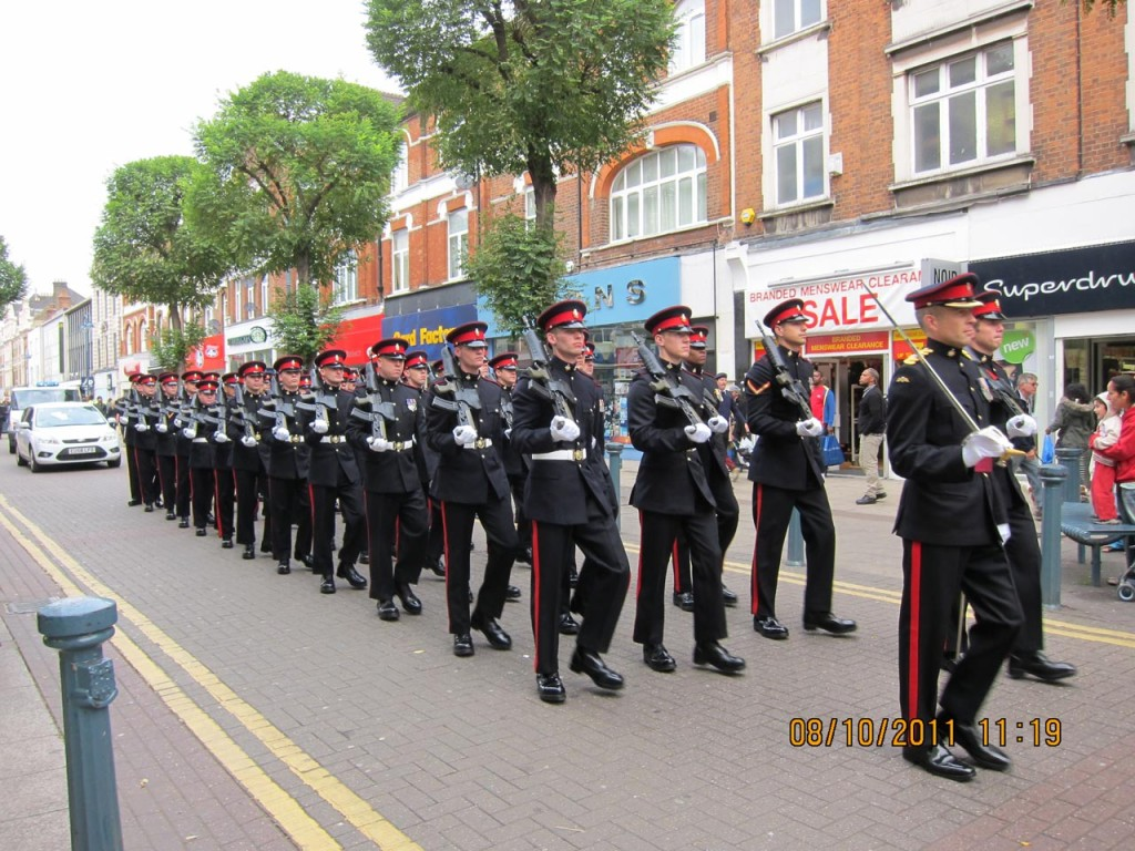 2nd Battalion the Princess of Wales' Royal Regiment march through Woolwich