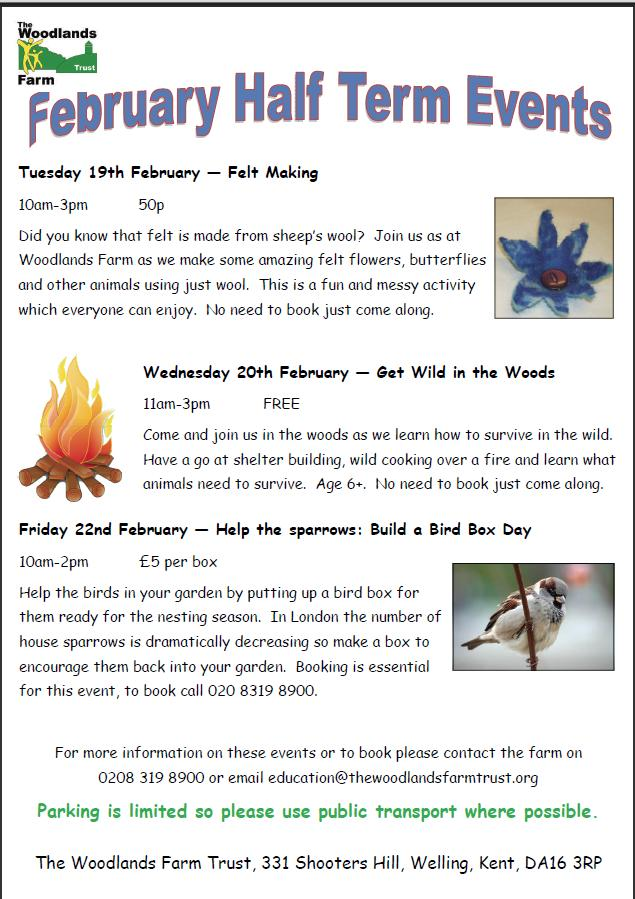 February  2013 Half term Events at Woodlands Farm
