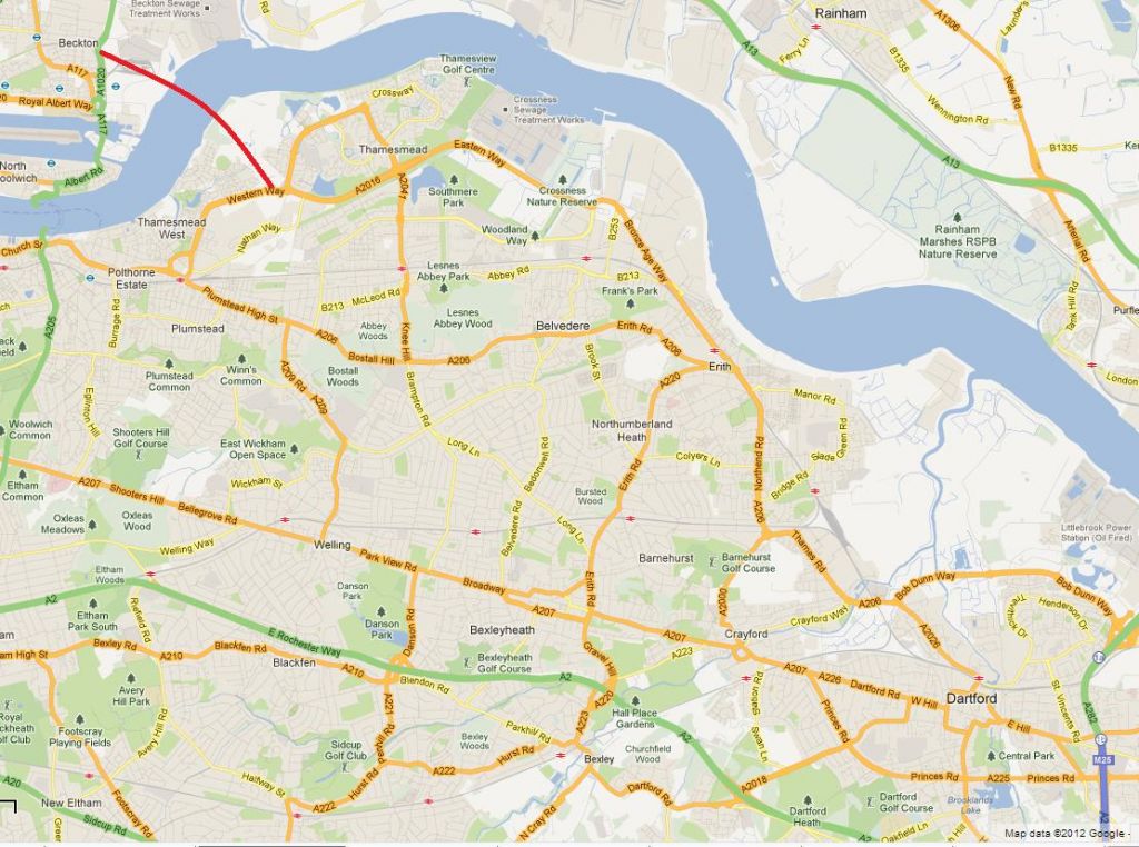 Google Maps snippet showing where the Gallions Reach Bridge would be