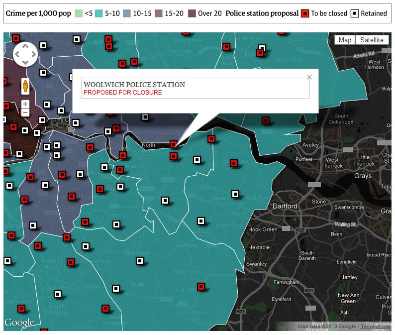Snippet from Guardian Data Blog Police stations in London under threat of closure