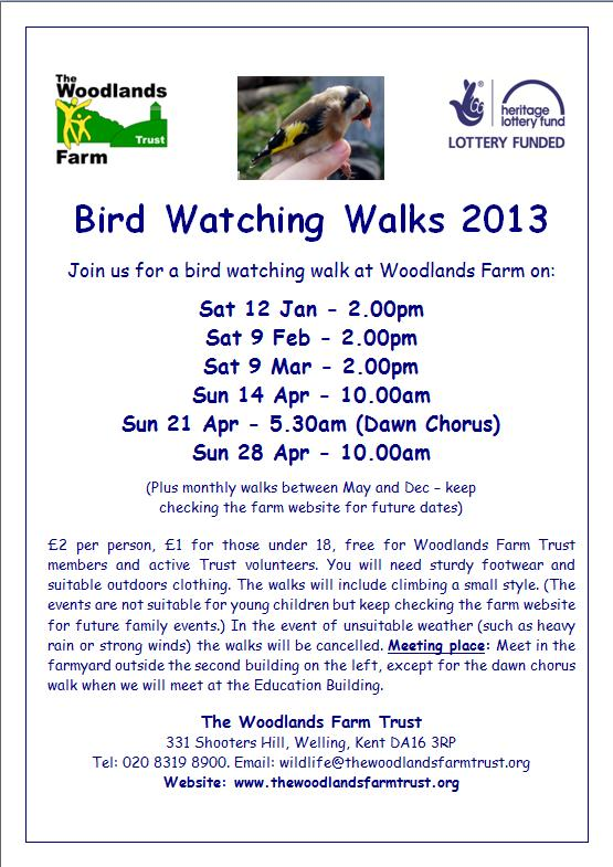 Bird Watching Walks at Woodlands Farm Poster