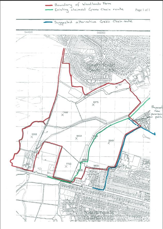 Woodlands Farm map showing proposed path change
