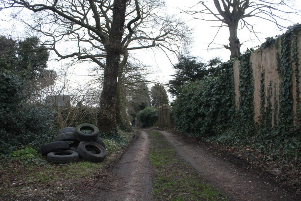 Mayplace Lane with Fly-tipped Tyres