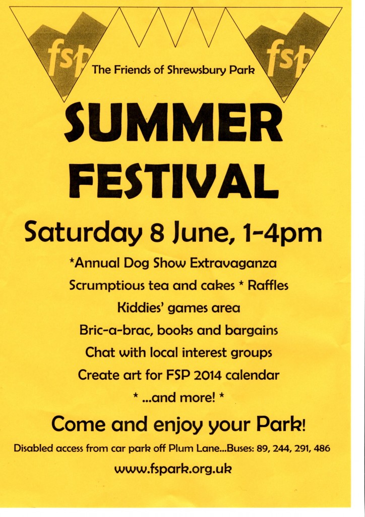 Shrewsbury Park Summer Festival 2013 Flyer