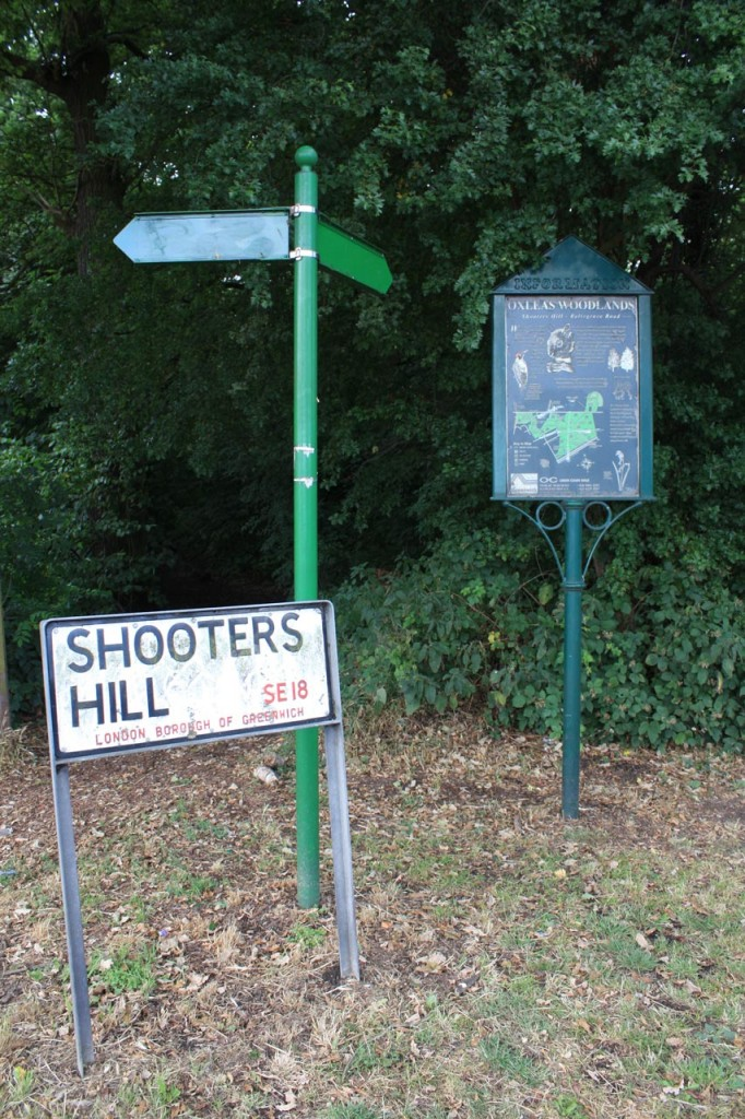 Changed Green Chain sign post on Shooters Hill
