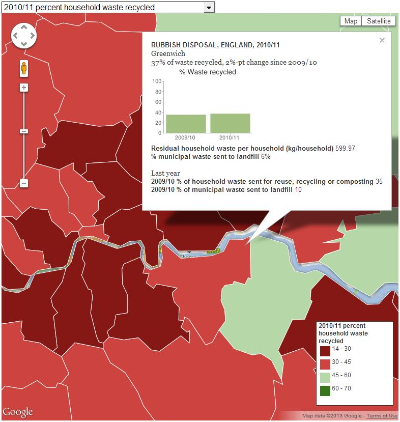 Snippet from Guardian Datablog: Recycling in England: the map