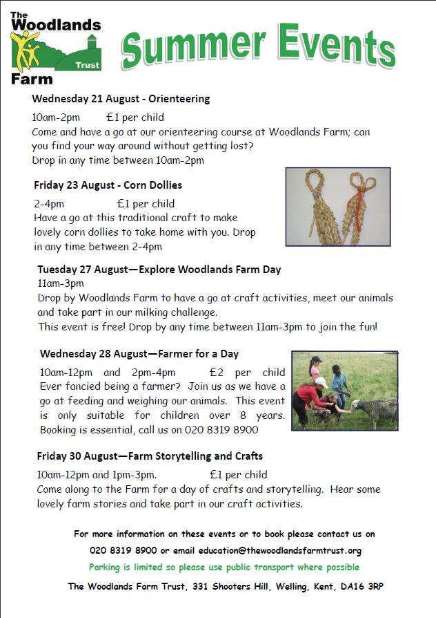 Woodlands Farm Summer Events 2013 Poster