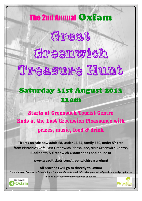 Oxfam Great Greenwich Treasure Hunt poster
