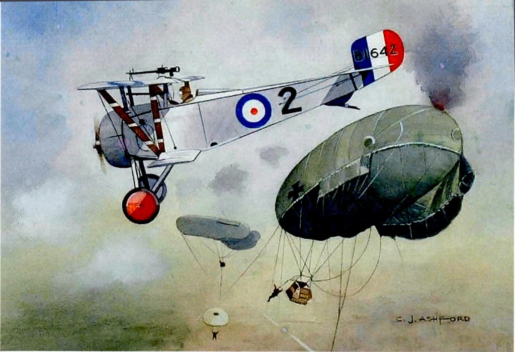 Nieuport Scout of Royal Flying Corps No. 40 Squadron attacks an observation balloon