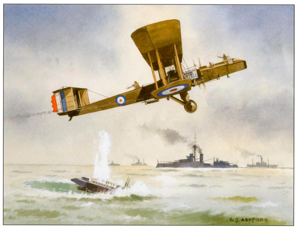 A Blackburn Kangaroo bombs an enemy submarine in the First World War