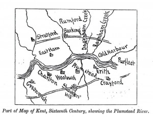 Part of a map of Kent showing the Plumstead River from W.T. Vincent's Records of the Woolwich District