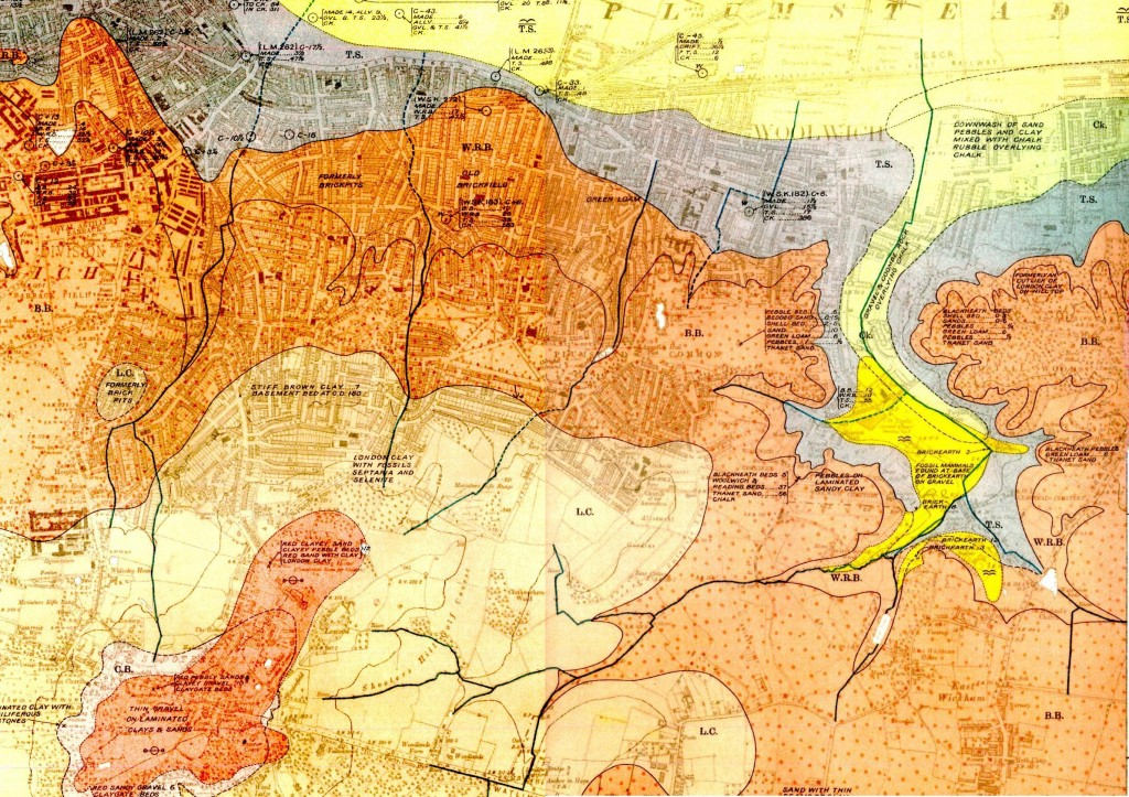 Part of 1920 Geological Survey map showing course of River Wogebourne