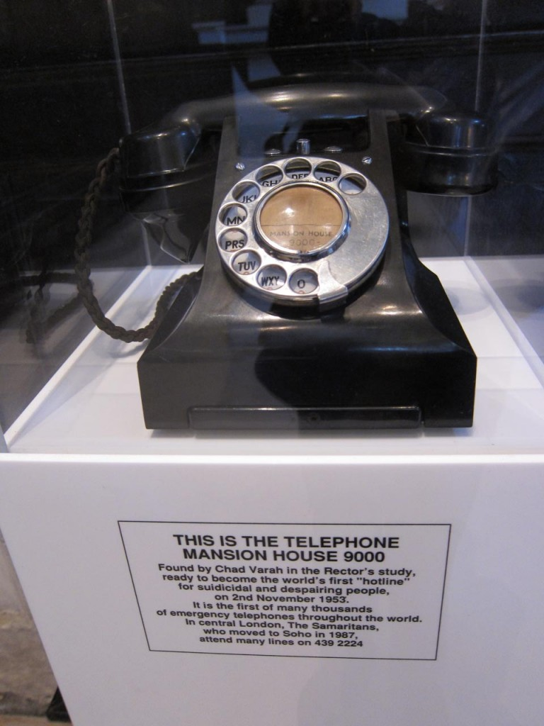 Samaritans' first phone at St Stephen Walbrook