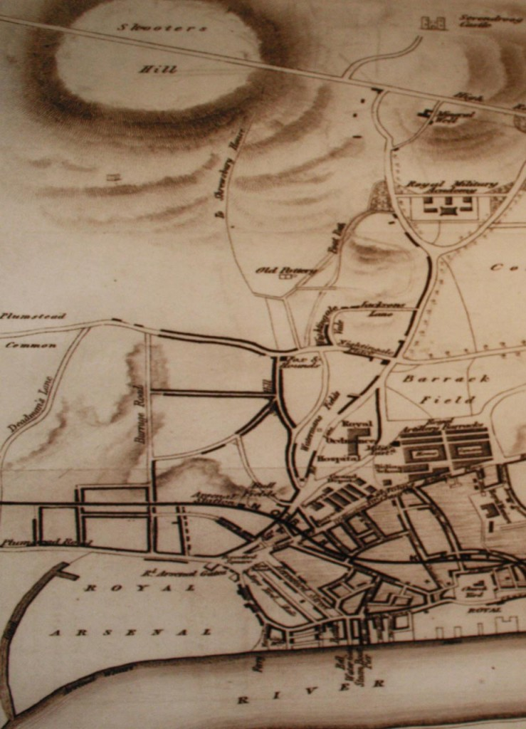 Snippet from1837 map in the Firepower Museum