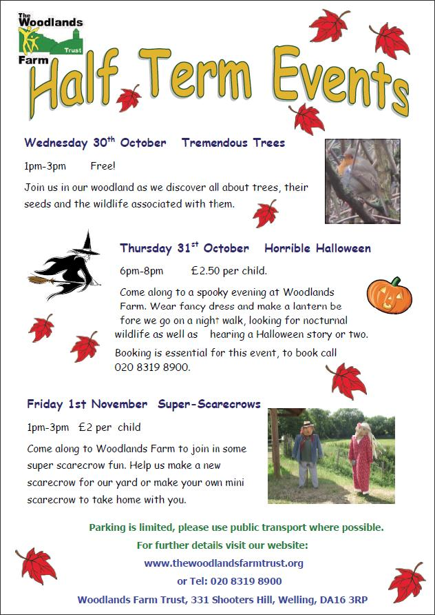 Woodlands Farm Half term Events Poster
