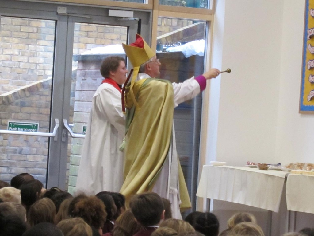 The Bishop of Woolwich at the blessing of the new school hall