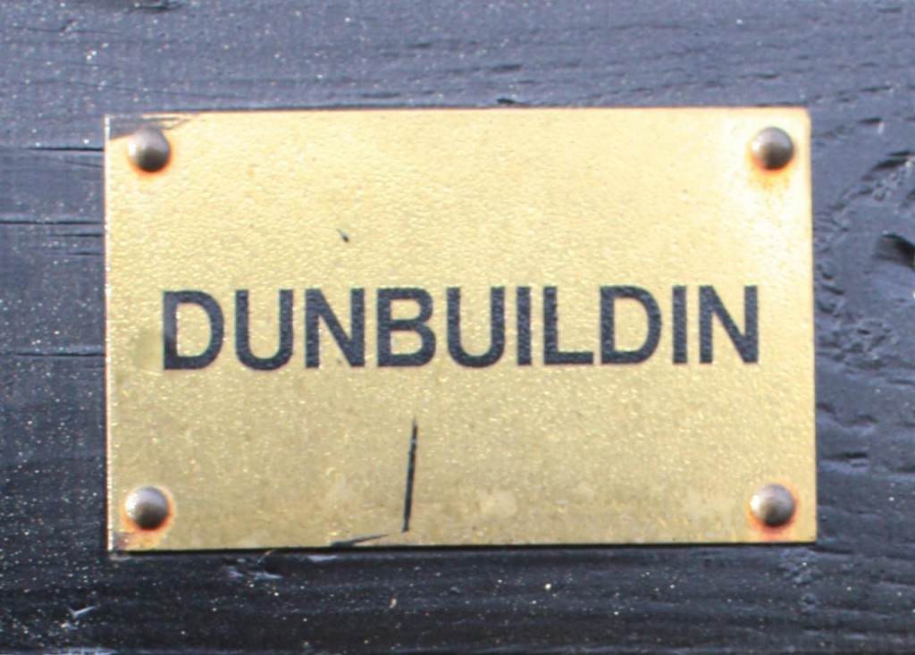 Brass name plate on Gordon and Dee's self-built house